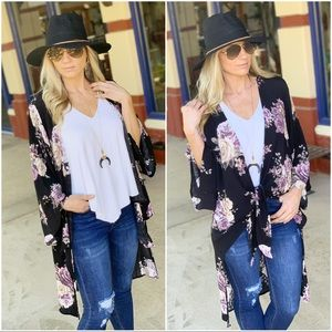 Infinity Raine Sweaters - ✨LAST ONE✨Black floral tie front kimono
